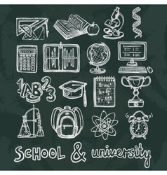 School education chalkboard icons vector