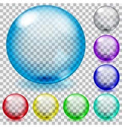 Set of transparent glass spheres vector