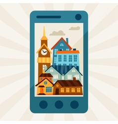 Concept with mobile phone and city panorama vector
