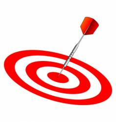 Dart on dartboard center vector