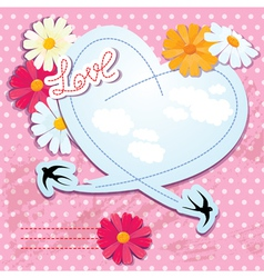 Valentines day card with heart and swallows vector