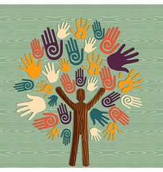 Diversity human tree hands vector