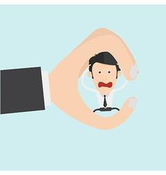 Conceptual creative shot of a man between fingers vector