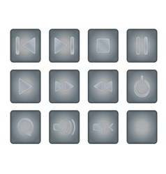 Metal player buttons vector