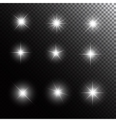 Set of glowing light stars with sparkles vector