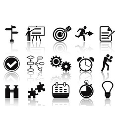 Black planning icons set vector