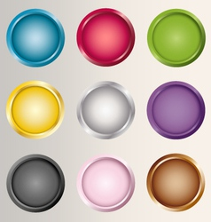 Buttons icons set various colors vector