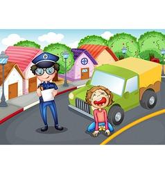 Policeman writing ticket vector