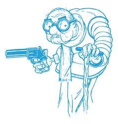 Old man with a gun vector