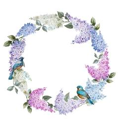 Lilac wreath and birds vector