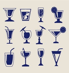 Set of drinks icon set vector
