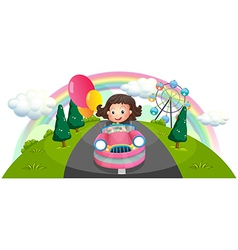 A young girl riding in a pink car with balloons vector