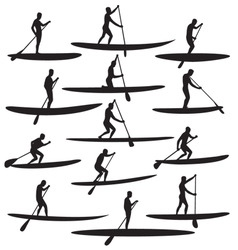 Sup stand up paddle boarding vector