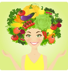 Vegetable woman vector