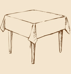 Square table with tablecloth vector