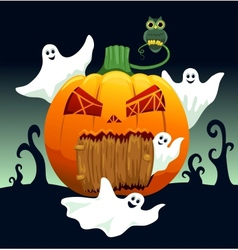 Ghosts and pumpkin house vector