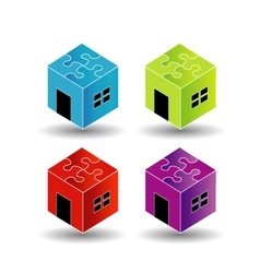 Colorful logos for real estate market with puzzle vector