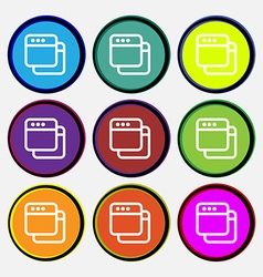 Simple browser window icon sign nine multi-colored vector