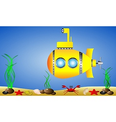 Yellow submarine under water vector