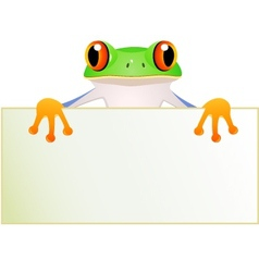 Funny green frog cartoon vector