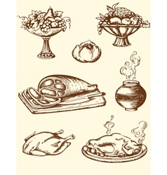 Drawing vintage food vector