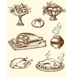 Drawing vintage food vector