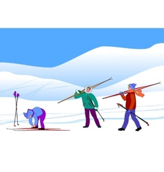 Young skiers in snow hills vector