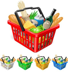 Shopping basket with foods vector