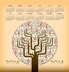 2014 music tree calendar vector
