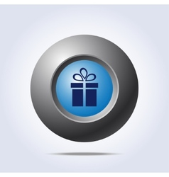 Blue button with present icon vector