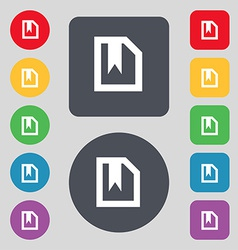 Bookmark icon sign a set of 12 colored buttons vector