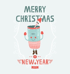 Christmas card with cute mug vector