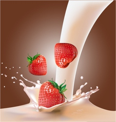Milk and strawberries vector