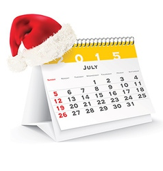 July 2015 desk calendar with christmas hat vector