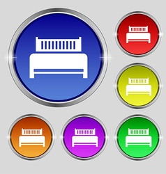 Hotel bed icon sign round symbol on bright vector