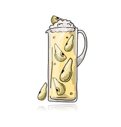 Pear cocktail in jug sketch for your design vector
