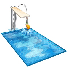 A boy in a swimming pool vector