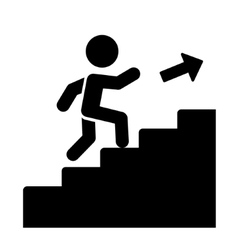 Man on stairs going up icon vector