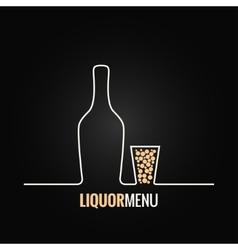 Liquor bottle glass shot design background vector