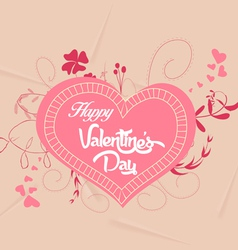 Happy valentines with heart florals vector