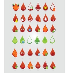 Colored creative blood medic drops sign vector