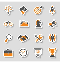 Business strategy icon sticker set vector