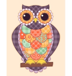 Colored patchwork owl vector