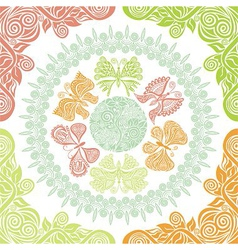 Butterflies and nature pattern background vector