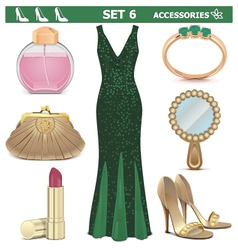 Female accessories set 6 vector