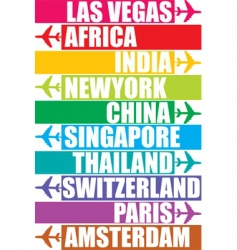 Tag of different place vector