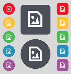 File jpg icon sign a set of 12 colored buttons vector