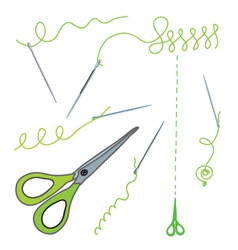 Scissors and needles vector