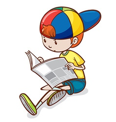 Boy and newspaper vector