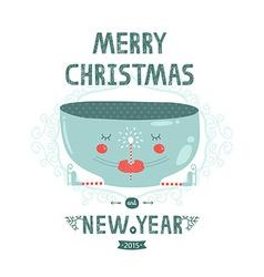 Christmas card with cute mug magic wand and skates vector